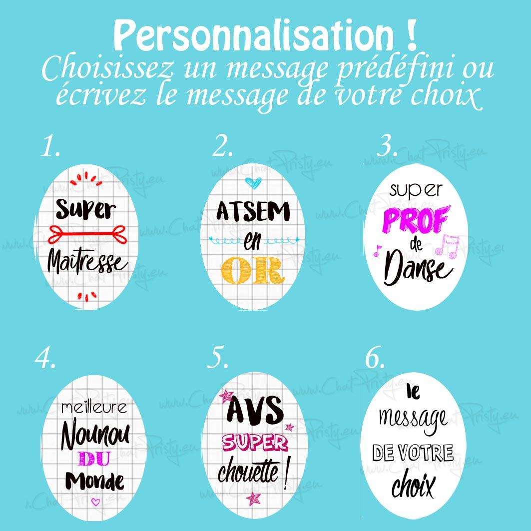 choix messages personnalisée poupées en bois Chat Pristy