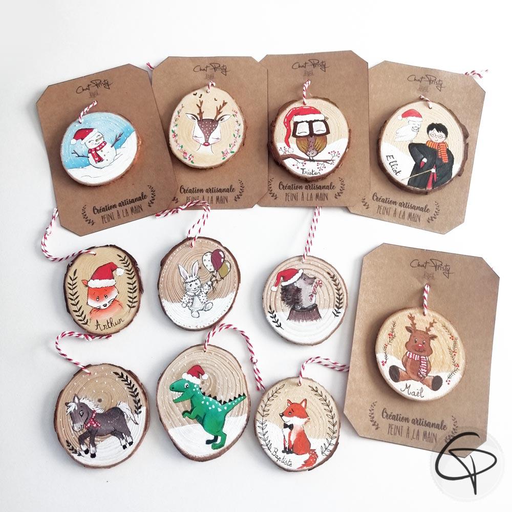 Suspension originales avec mignons animaux peints pour le premier Noël de votre enfant