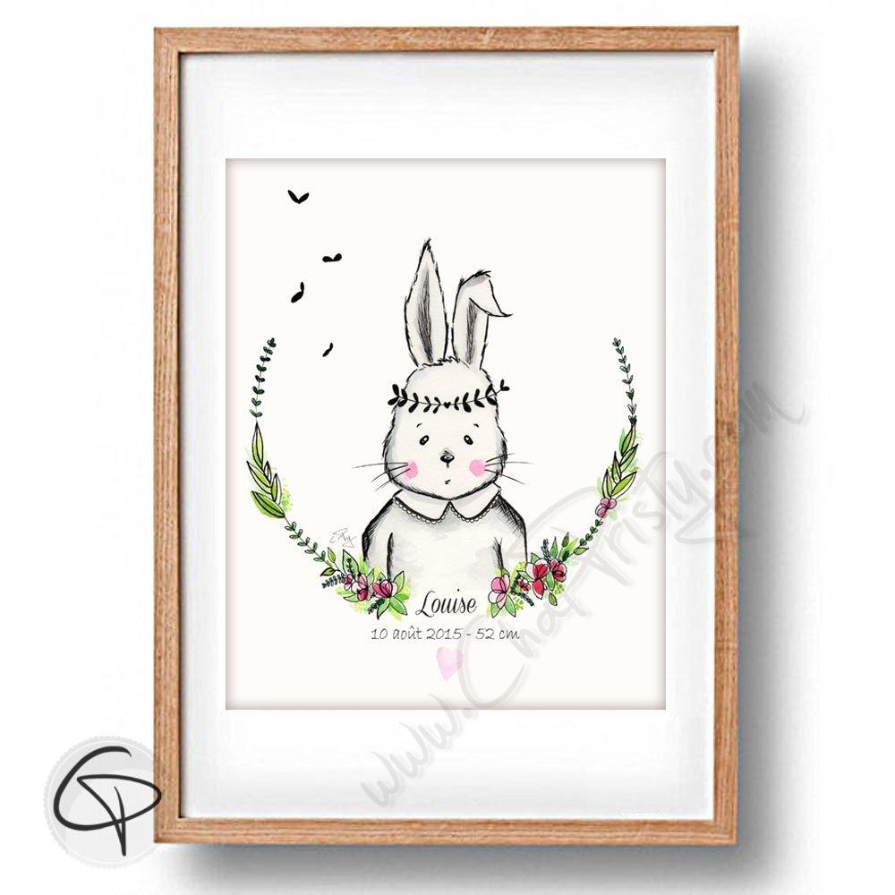 Cadre de naissance lapin personnalisée du prénom de l'enfant