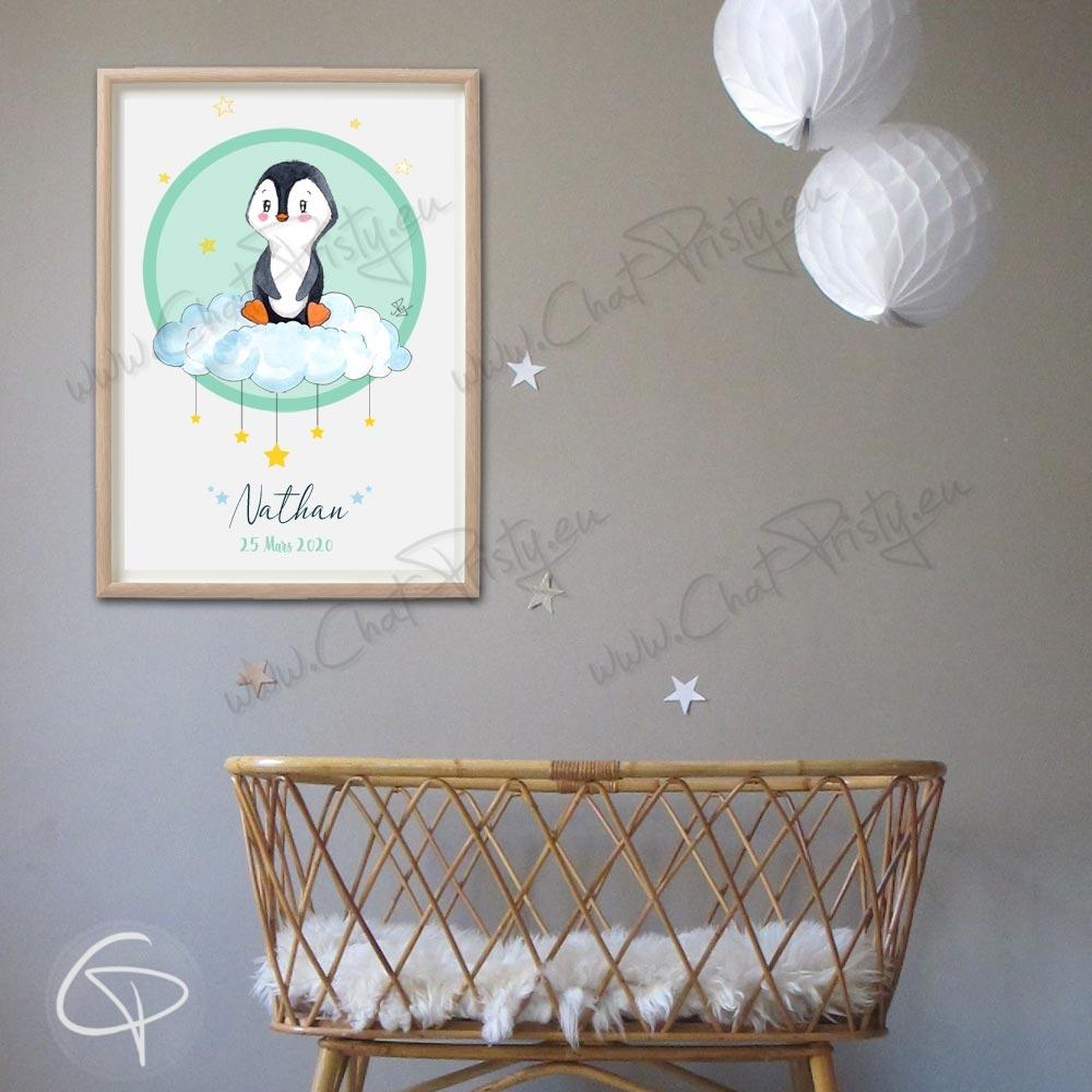 Tableau de naissance pingouin personnalisé du prénom de l'enfant