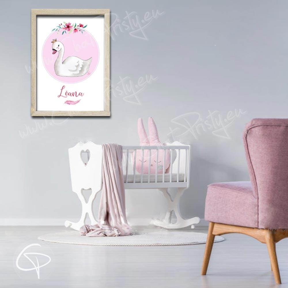 Tableau de naissance cygne personnalisable avec le prénom de votre fille