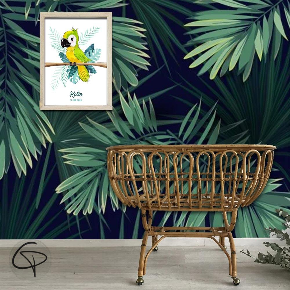 Perroquet décoration murale univers tropiques chambre d'enfant