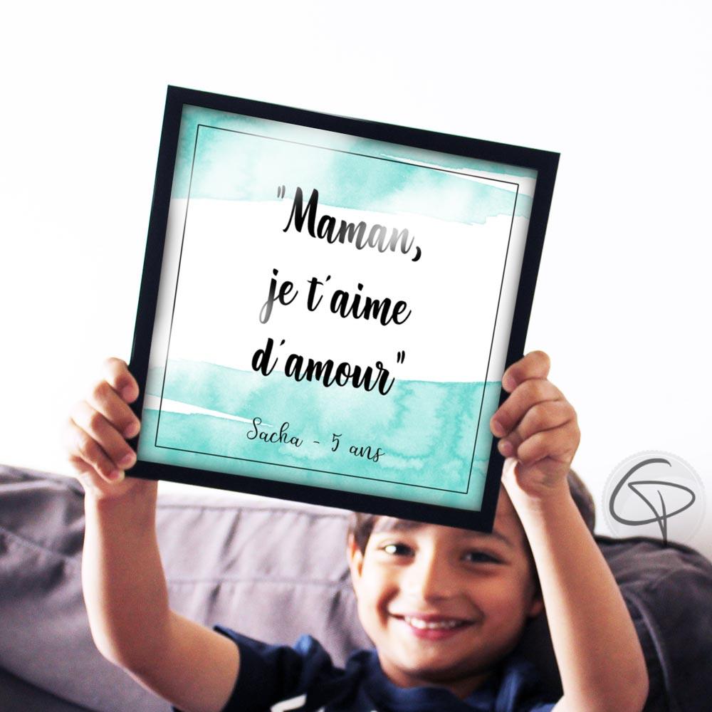 Cadre original contenant une phrase attendrissante de votre enfant