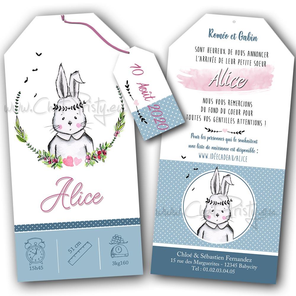 Annonce de naissance avec une dessin original de lapin mignon fait main