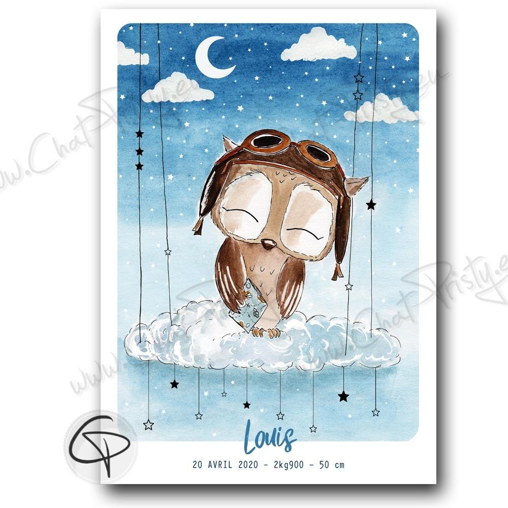 Affiche de naissance personnalisée hibou aviateur pour bébé garçon