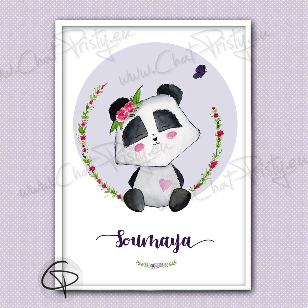 Affiche de naissance illustrée d'un bébé panda à perosnnaliser avec le prénom d'une fille