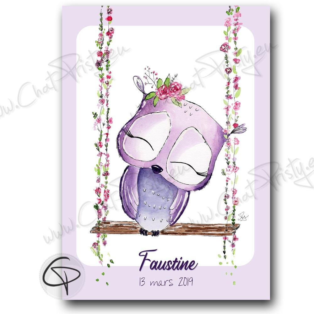 Affiche de naissance chouette sur balançoire personnalisable prénom bébé