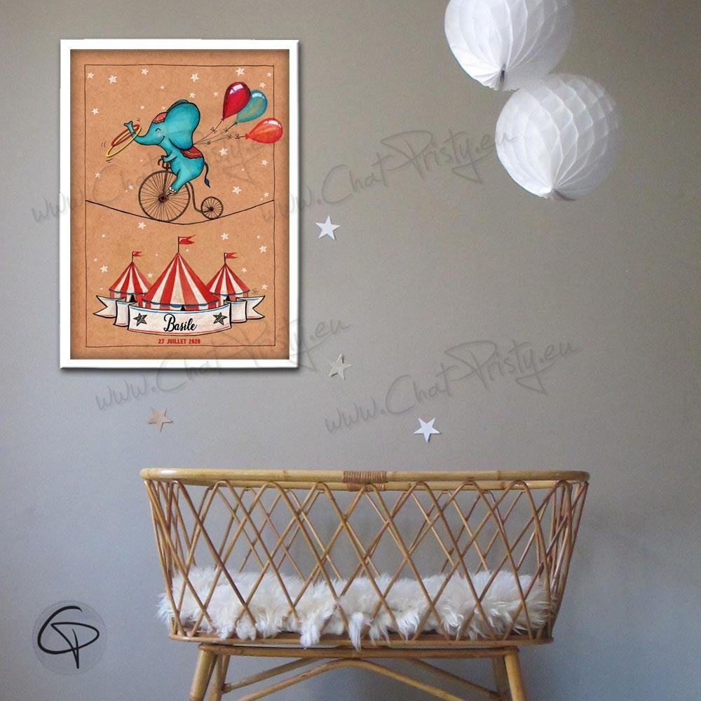 Affiche de naissance éléphant artiste de cirque cadeau original pour garçon