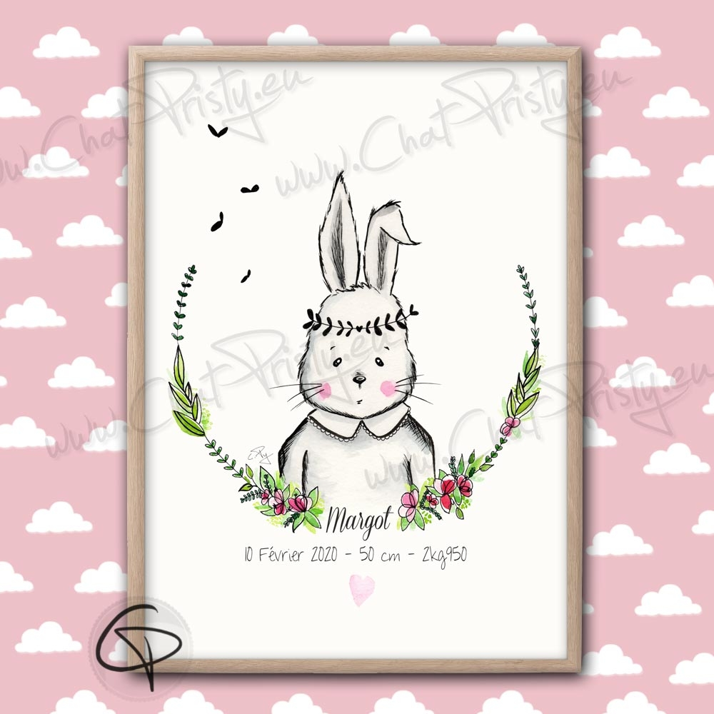 Affiche de naissance lapin perosnnalisée pour une fille