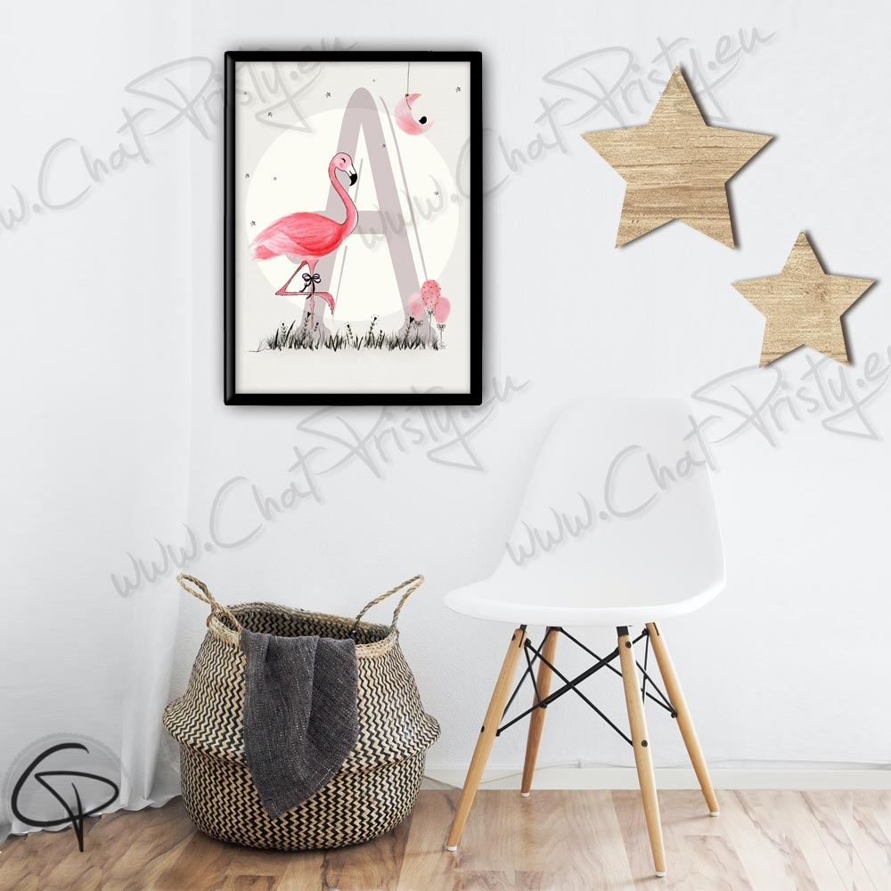 Affiche de naissance flamant rose personnalisée de la première lettre du prénom du bébé