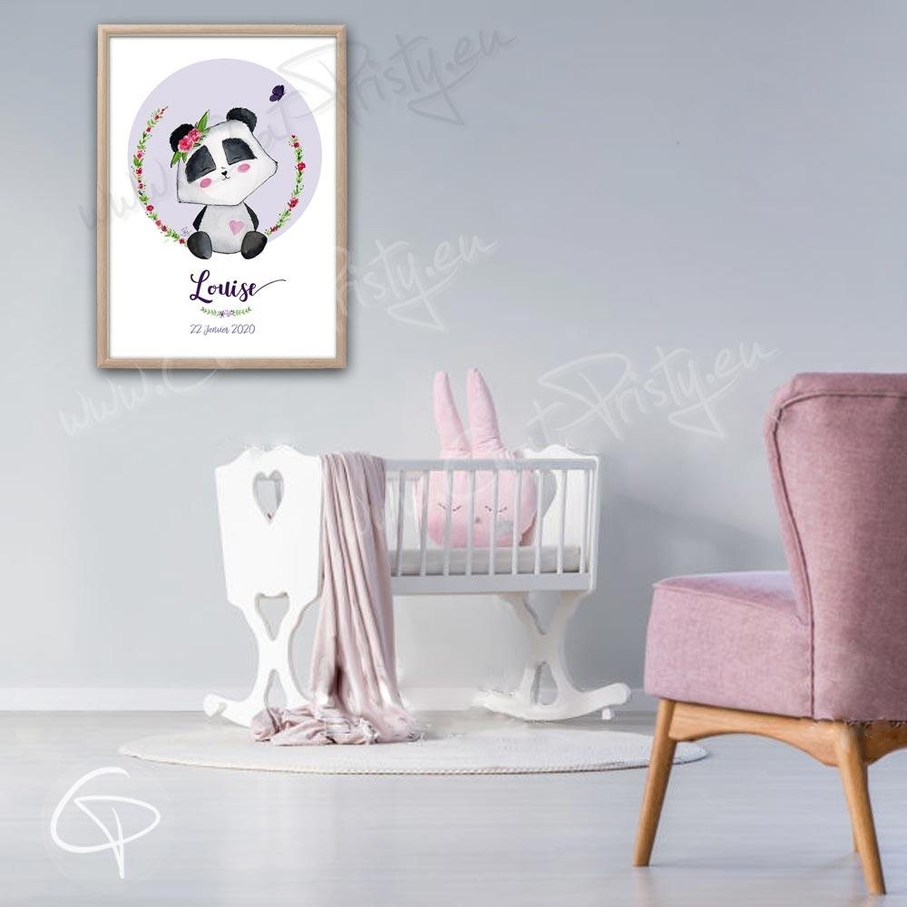 Cadeau de naissance original pour une fille avec un bébé panda pour décorer la chambre