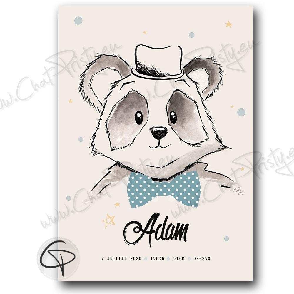 Affiche de naissance panda personnalisable avec prenom bébé