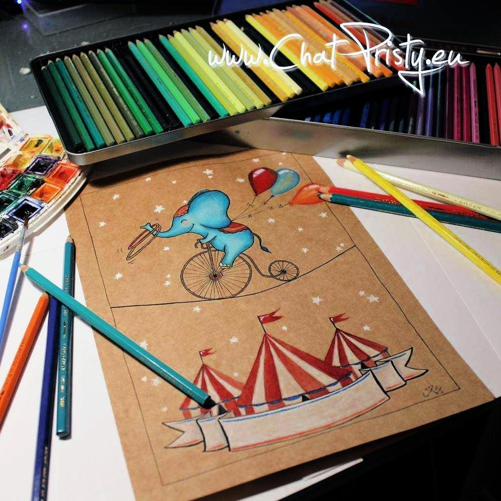 Affiche de naissance éléphant acrobate de cirque à personnaliser avec un prénom
