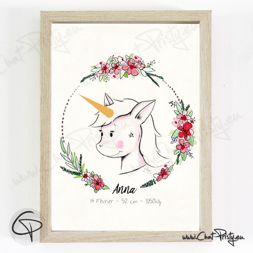 Affiche de naissance personnalisée fille licorne à l'aquarelle