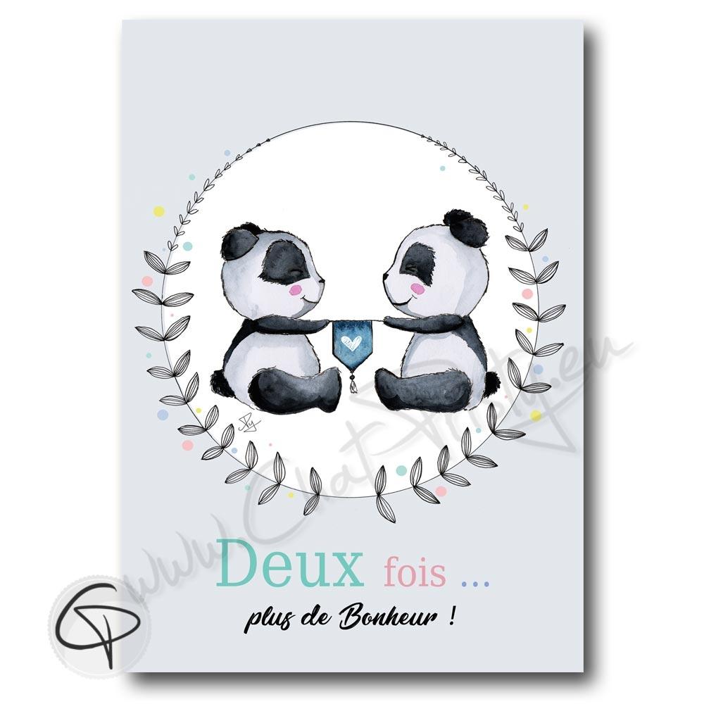 Affiche de naissance personnalisée pour jumeaux et jumelles avec des pandas