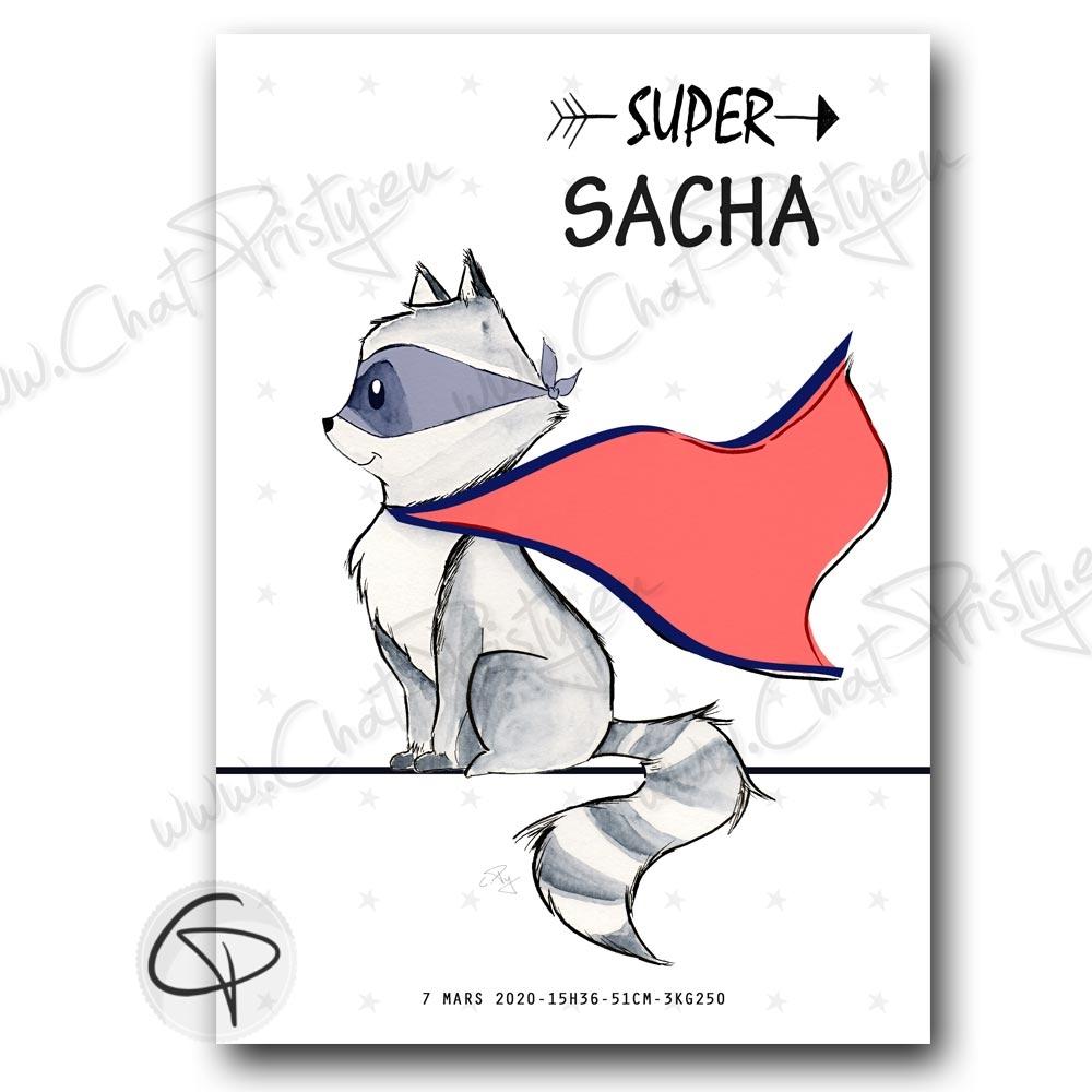 Affiche de naissance raton-laveur super-héros personnalisée prénom garçon