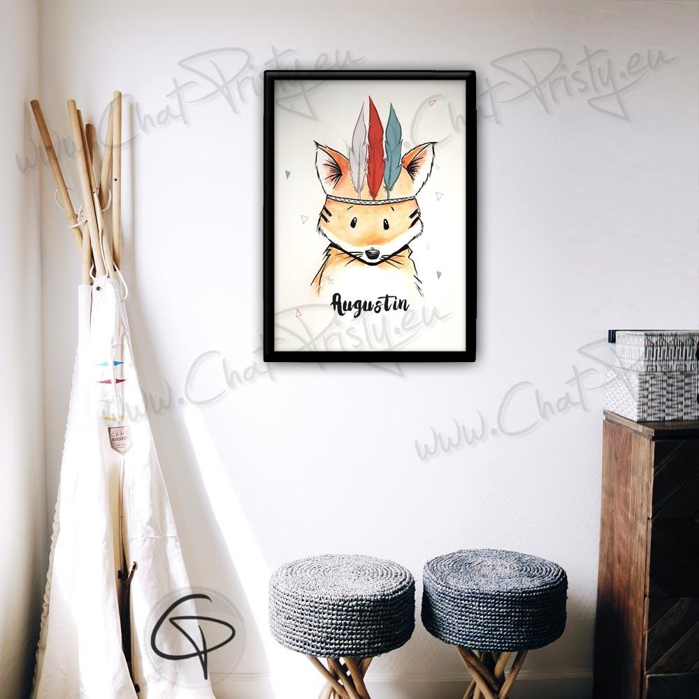 Cadeau de naissance entièrement personnalisable avec une aquarelle renard de petit créateur