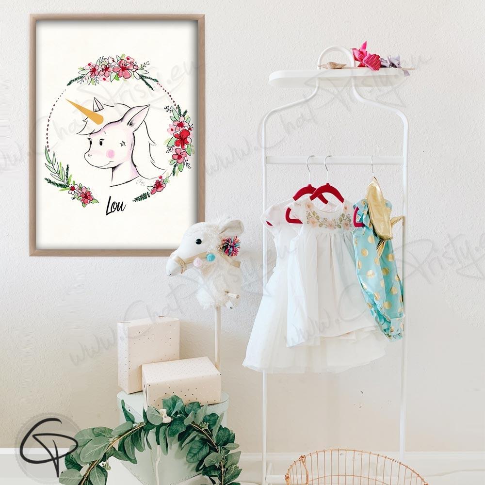 Cadeau de naissance licorne personnalisée fille pour décorer la chambre du bébé