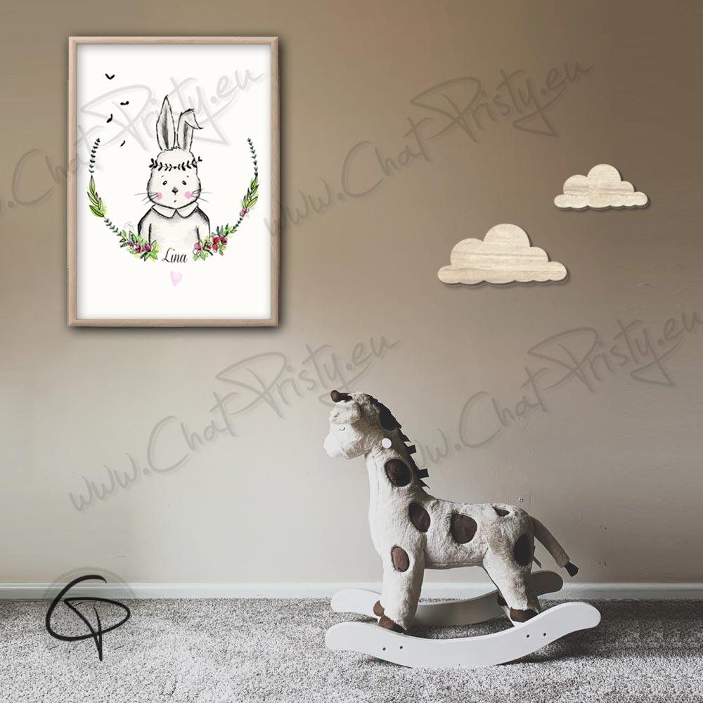 Cadeau de naissance fille originale affiche lapin personnalisée