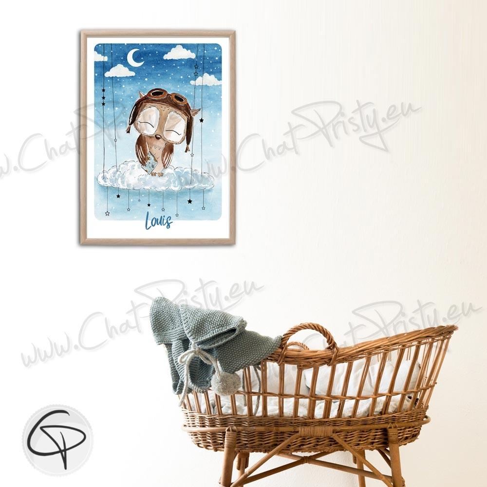 Cadeau de naissance original affiche hibou pour décorer la chambre d'un enfant