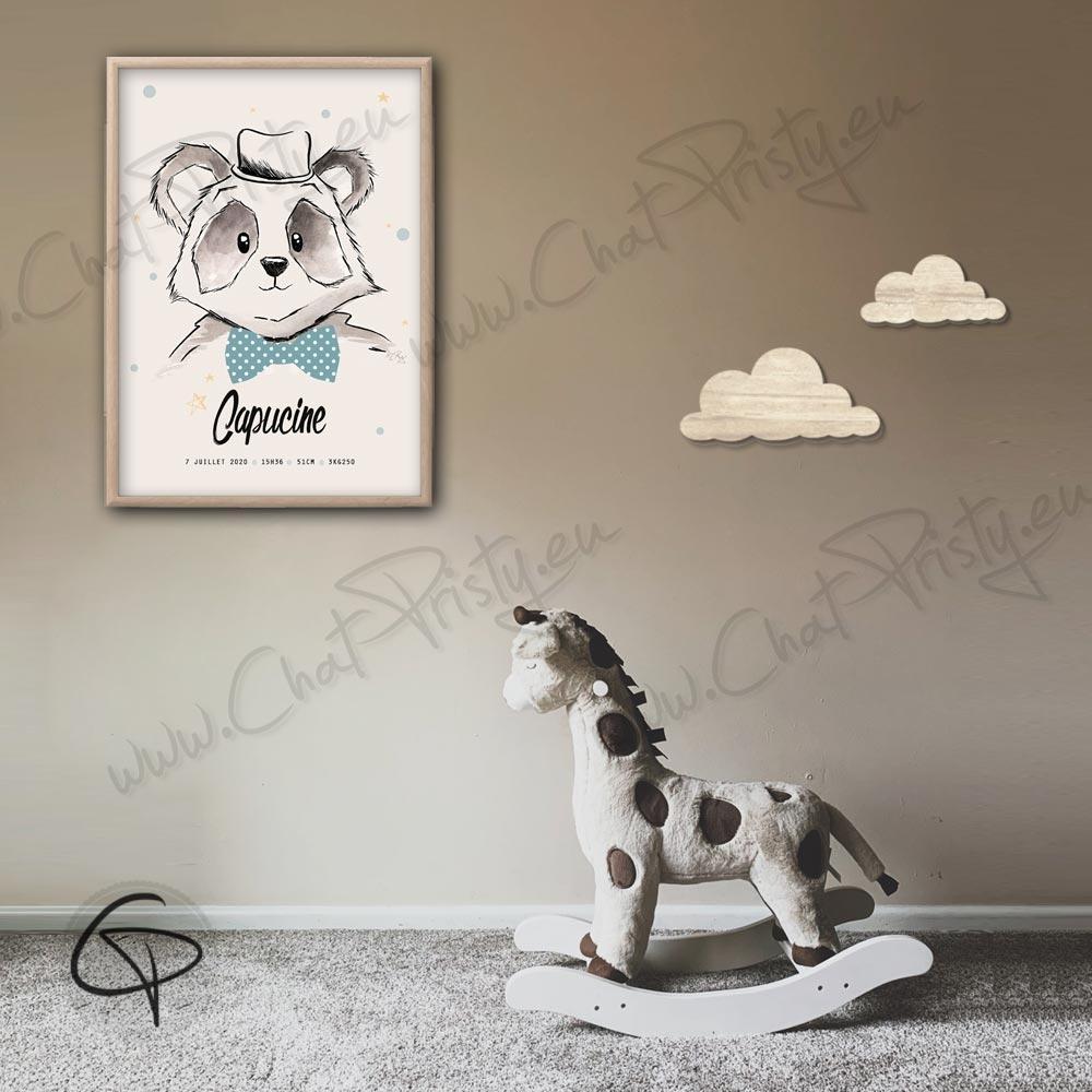 Affiche panda personnalisable pour offrir en cadeau de naissance original