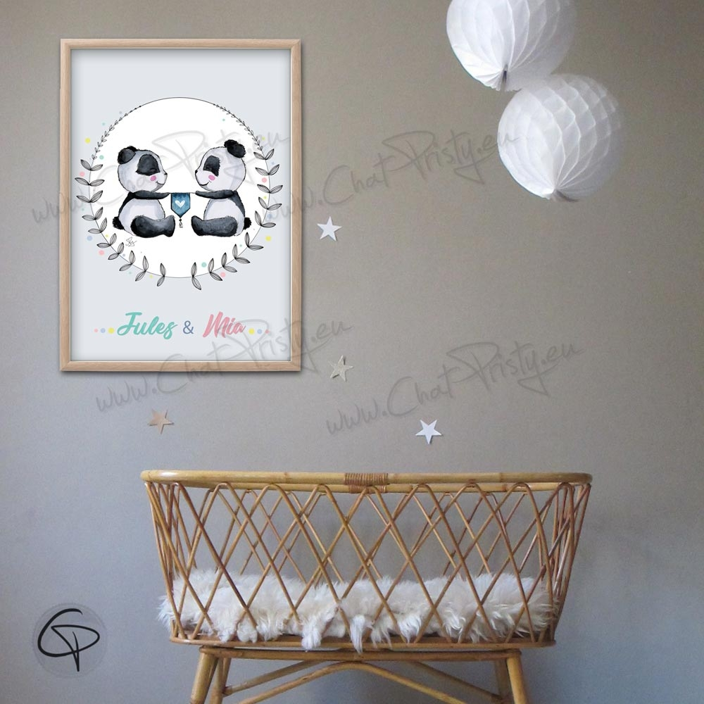 Cadeau de naissance pour jumeaux avec une affiche pandas personnalisables