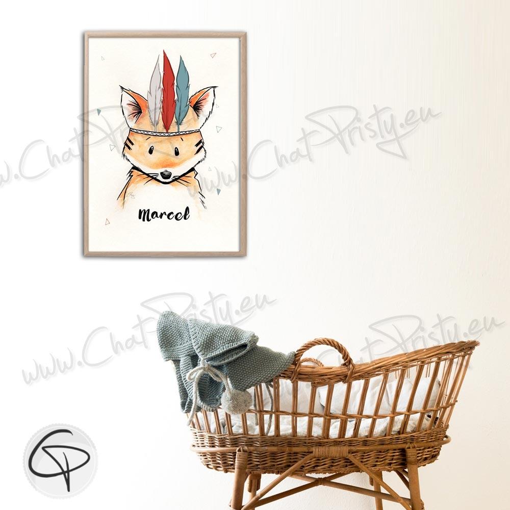 Poster mignon renard à personnaliser et à encadrer au mur de la chambre du bébé