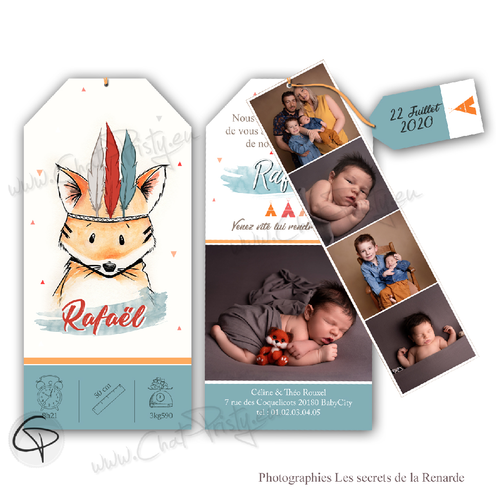 Annonce de naissance originale avec renard personnalisable
