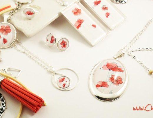 collection de bijoux avec des illustrations de coquelicots à l'aquarelle faits main