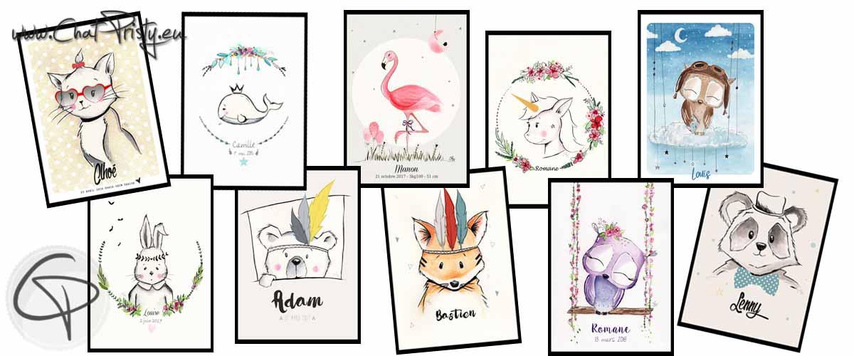 cadeaux de naissance originaux et personnalisés avec des affiche de naissances de créateur